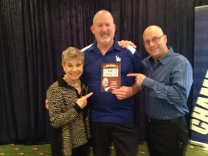 "Patricia Fripp, Walt Grassl, and Darren LaCroix with Walt's Book, ""Stand Up & Speak Up"""