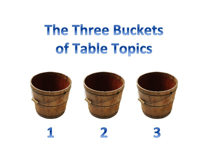 The 3 Buckets of Table Topics Answers